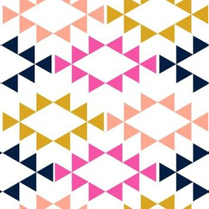 golden yellow magenta navy aztec triangles