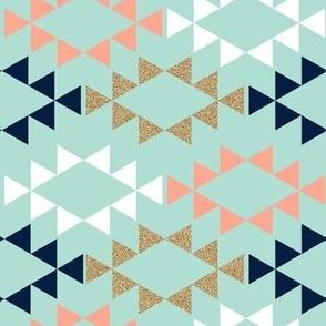 mint blush white navy aztec triangles