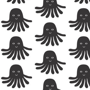 jellyfish black and white minimal monochrome ocean design in modern swedish style