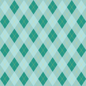 Blue and Aqua Argyle