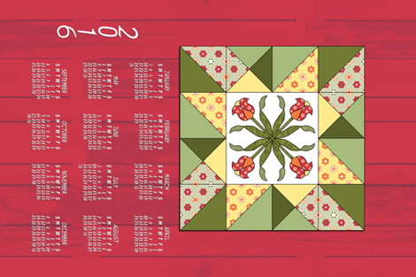 Barn Quilt Calendar_2016a_green yellow red on red.