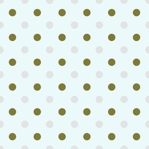 Green Grey Polka Dots on Blue Sky