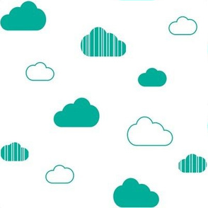 Clouds - Teal on White