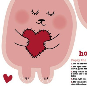 bunny doll cut and sew with sleeping bag fat  quarter