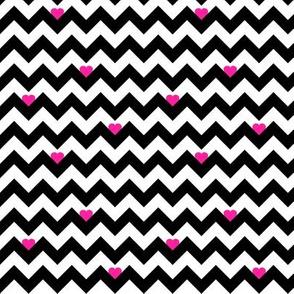 heart & chevron - black/pink- mini