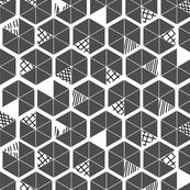 Crowded Geometric umbrellas in smokey grey-ch