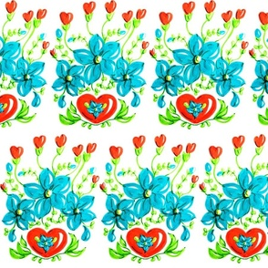 Red Hearts and Blue Folk Art Flowers