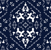 Balloon animals damask deep navy