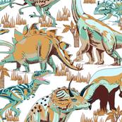 Dinosaurs Aqua, Beige, Brown, Gold.