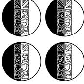 Tiki Face Black and White