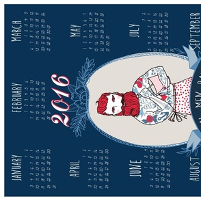 Real Men Bake 2016 tea towel calendar (Navy)