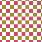 Rose Pink and Olive Green Checkered Pattern Design