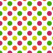 Pink, Green, Yellow and Orange Polka Dot Pattern