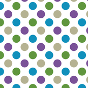 Purple, Blue, Green and Grey Polka Dot Pattern