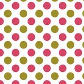 Rose Pink and Olive Green Polka Dot Pattern Design