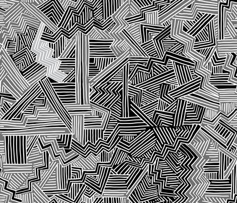 Zig Zag Riot (black, mid grey, white)