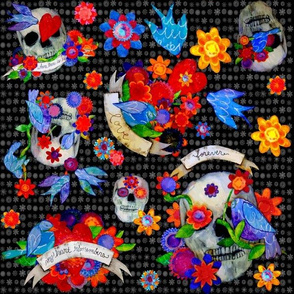 Day of the Dead With Birds and Flowers