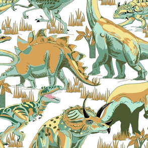 Teals_and_Gold Dinosaurs.