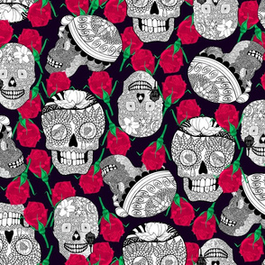Calaveras_Black_and_white_with_red_roses_on_Deep_Purple