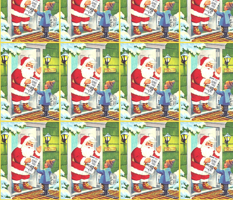 Vintage retro kids santa claus snow trees merry christmas for Retro kids fabric