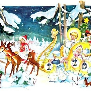 vintage Merry Christmas cherubs angels winter snow presents gifts sleigh reindeer trees forests woods stars toys dolls teddy bears Santa Claus
