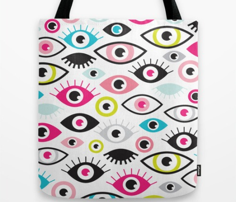 Beautiful eyes retro eye lash and love wink retro illustration pattern