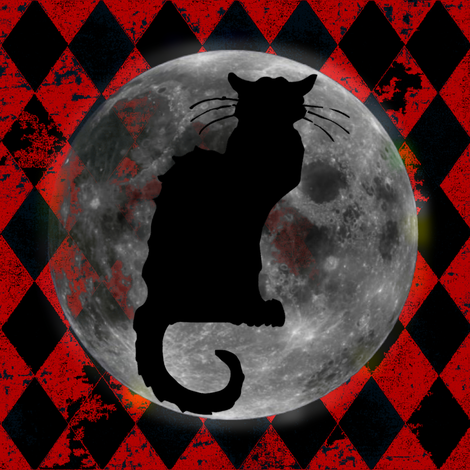 Le Chat Noir Harlequin Moon, Black & Orange Halloween
