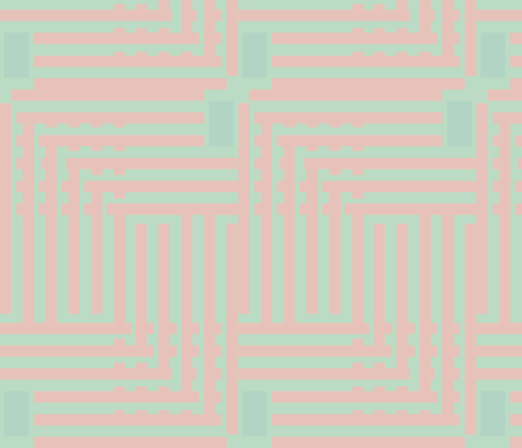 Grid pink turquoise baby retro