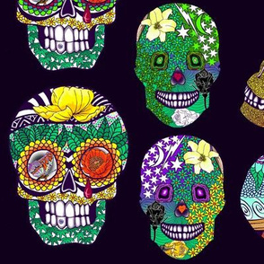 Zentangle Calaveras_on_Deep_Purple