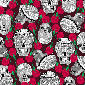 Calaveras_Black n White_on_Deep_RED