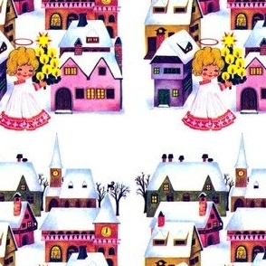 vintage retro Merry Christmas snow winter angels cherubs trees candles stars villages towns houses whimsical trees
