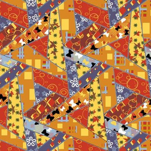 Autumn Triangle Cheater Quilt