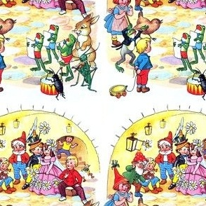 kids gnomes fairies elves elf pixies wedding bride groom children frogs sing rabbits grasshoppers music band conductor bees birds flowers valentine