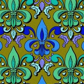 fleur de lis damask, poison green