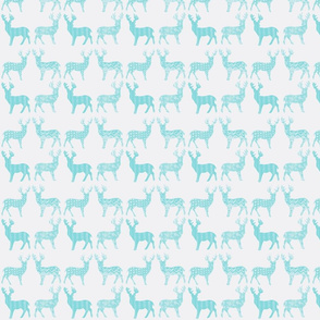 Aqua Meadow Deer on White SMALL SCALE