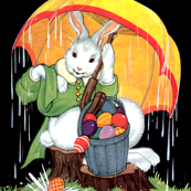 vintage retro kitsch rabbits bunny bunnies umbrellas brolly raining Easter eggs baskets Good Friday whimsical