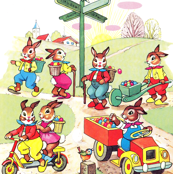vintage retro kitsch Easter eggs rabbits bunny bunnies trucks wheelbarrows scooters towns fields trees cross roads birds deliver birds Anthropomorphic