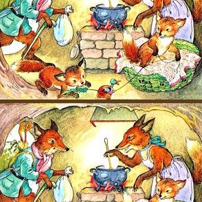 vintage retro foxes family parents father mother children siblings toddlers cooking hunting toys ducks cave home gathering kids food meals