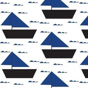 blue sail boat - elvelyckan