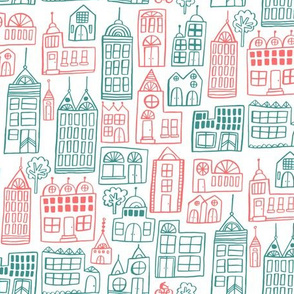 Cityscape - Teal and Coral on White