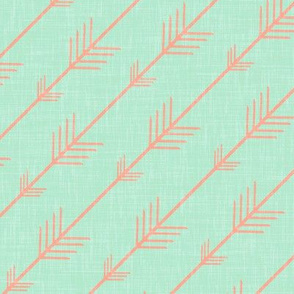 Arrows in Coral on Mint Linen