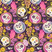 Día de muertos - skull fabric dark