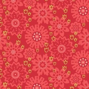 Red and Pink Geometric Floral