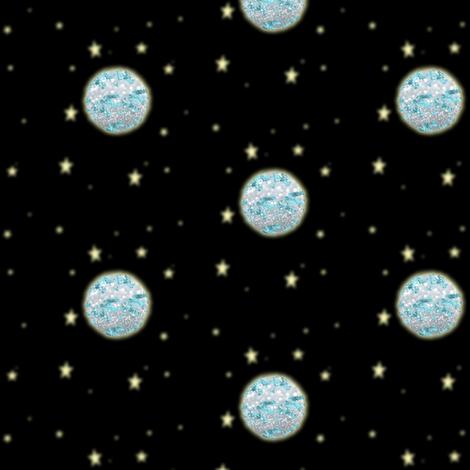 Silver Moon Glowing Yellow Stars Black Sky