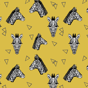 Zebras - Mustard (Small Version) by Andrea Lauren