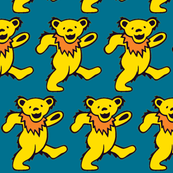 yellow dancing bears on teal