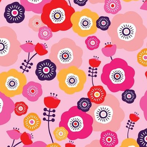 Pink poppy summer flowers illustration blossom