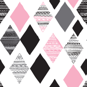 Aztec winter pink geometric diamond fabric