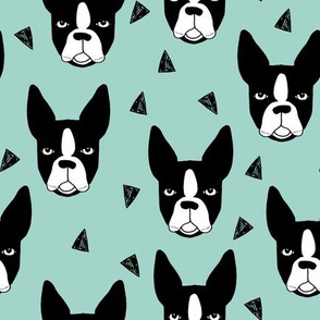 Boston Terrier - Pale Turquoise by Andrea Lauren