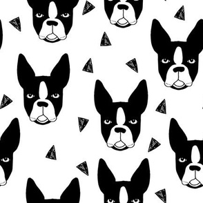 boston terrier // boston terrier dog black and white illustration